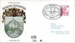 """BRD Schmuck-FDC Freimarken Burgen Und Schlösser 50(Pf) """"Schloß Neuschwanstein"""", Mi. 916 ESSt 17.5.1977 BONN 1 - FDC: Enveloppes"""