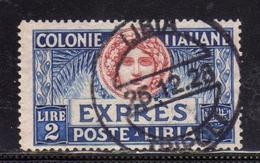 COLONIE ITALIANE LIBIA 1923 ESPRESSO SPECIAL DELIVERY LIRE 2 USATO USED OBLITERE' - Libia