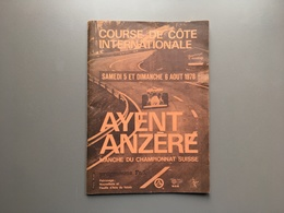 Course De Côte Internationale - 1978 - AYENT ANZERE - Manche Du Championnat Suisse - Programme - Automovilismo - F1