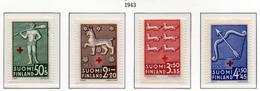 PIA - FINLANDIA  - 1943 : Pro Croce Rossa - Stemmi Di Province Finlandesi   - (Yv 261-64) - Primo Soccorso