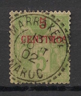 Maroc - 1891-1900 - N°Yv. 2A - Sage 5c Vert-jaune - Oblitéré / Used - Morocco (1891-1956)