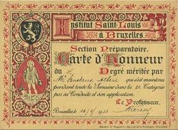 Carte D'honneur : Institut Saint-Louis Bruxelles    1923  ( 14 X 10 Cm ) - Brussels (City)