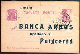 Girostamps54.- ESPAÑA .- ENTERO POSTAL REPUBLICANO COMERCIAL CIRCULADO DESDE LERIDA A PUIGCERDÁ (GIRONA) - Enteros Postales
