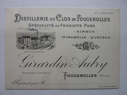 Fougerolles (Hte Saône), Distillerie Du Clos, Girardin-Aubry, Carte Représentant - Cartes De Visite