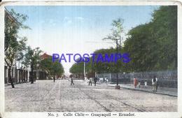 111862 EQUATOR GUAYAQUIL STREET CALLE CHILE & RAILROAD POSTAL POSTCARD - Ecuador