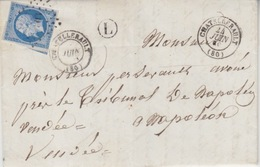 Lettre Obl. T15 Chatellerault + PC 803 Le 24 Juin 59 Sur N° 14 (20c Bleu) Pour Napoléon + Facteur Boîtier L (Viré) - Marcophilie (Lettres)