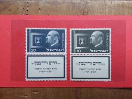 ISRAELE 1952 - Presidente Weizman Nn. 62/63 Con Appendice - Timbrati + Spese Postali - Usati (con Tab)