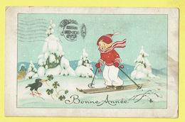 * Fantaisie - Fantasy - Fantasie * (24008-1) Bonne Année, New Year, Ski, Snow, Neige, Enfant, Bird, Oiseau, Merel - Nouvel An