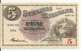 SUEDE 5 KRONOR 1952 XF+ P 33 Ai - Suède