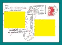 Marque Linéaire Retour A L' Envoyeur Concours Cloturé Flamme 16 La Rochefoucauld Sur CP ( Multivues ) ( Chateau, Tombeau - Marcophilie (Lettres)