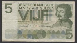 NETHERLANDS  5 Gulden 1966 Vondel 1 Replacement, 2AY 105554 -  See The 2 Scans For Condition.(Originalscan ) - 5 Florín Holandés (gulden)