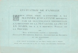 AISNE - SOISSON - INVITATION DE FAMILLE PAR LE SKATING-CLUB SOISSONNAIS POUR LA MI-CAREME LE JEUDI 14 MARS. - Tickets - Vouchers