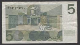 NETHERLANDS  5 Gulden 1966 Vondel 1 Replacement, 1 AF 073766 -  See The 2 Scans For Condition.(Originalscan ) - 5 Florín Holandés (gulden)
