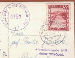 Carte à Vue Salzburg Mit Untersberg 22.07.1946 -> Prague - Censored/Zensur/censure Zone Britannique + Manque Adresse - 1945-.... 2a Repubblica
