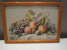 Ancien Cadre Image Nature Morte Fruits Pêche Prune Raisin 20,5 X 14,5 Cm Env - Autres Collections