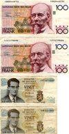 LOT DE 4 BILLETS BELGIQUE 100F Et 20 F - 100 Francs