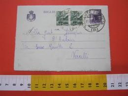 PC.2 ITALIA BIGLIETTO POSTALE VIAGGIATO - 1946 4 LIRE VIOLA SU GRIGIO - DA TARANTO FERROVIA B 1947 X VERCELLI - 6. 1946-.. Repubblica