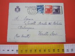 PC.2 ITALIA BIGLIETTO POSTALE VIAGGIATO - 1946 4 LIRE VIOLA SU GRIGIO DA TARANTO TARGHETTA FIERA DEL MARE 1949 X VARALLO - 6. 1946-.. Repubblica