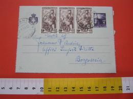 PC.2 ITALIA BIGLIETTO POSTALE VIAGGIATO - 1946 4 LIRE VIOLA SU GRIGIO DA TARANTO FERROVIA 2 LUNETTE X BORGOSESIA - 6. 1946-.. Repubblica