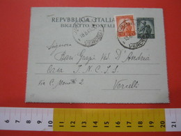PC.2 ITALIA BIGLIETTO POSTALE VIAGGIATO - 1947 10 LIRE VERDE - DA VARALLO SESIA X VERCELLI 1949 - Interi Postali