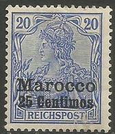 German Offices Morocco - 1900 Germania Overprint  & Surcharge 25c/20pf MH *  Mi  10 - Offices: Morocco
