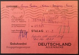CP Rose Prisonnier De Guerre STALAG VI J Censure Illustrée VERRE A VIN D'ALSACE De Perpignan Novembre 1940 - Poststempel (Briefe)