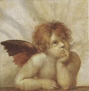 """Cinq Serviettes Papier Déco """"anges Songeurs"""" - Serviettes Papier à Motif"""