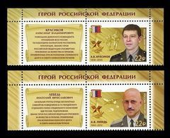 Russia 2018 Mih. 2535/36 Heroes Of Russia Alexander Krasikov And Anatoly Lebed. Aviation. Plane (with Labels) MNH ** - Nuevos