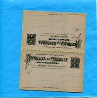 HONDURAS-Entier Postal- Stationnery-carte 1893 Neuve-double-réponse Payée-3c Noir Sur Vert Gris - Honduras