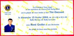 -- LIONS-CLUB / SULLY GIEN (Loiret) / INVITATION THE-DANSANT Avec RENE GROLIER / Coq D'or De L'accordéon -- - Announcements