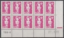 2717  4.00F. BRIAT ROSE - DEMI BAS De FEUILLE X 10 - TD6-8 Du 27.8.91 - Avec RE - 1989-96 Maríanne Du Bicentenaire