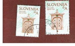 SLOVENIA - MI 443.510 -  2003.2005 CULTURAL HERITAGE: POST OFFIC DOOR (2 DIFFERENT DIMENSIONS & PERFORATIONS)  -   USED - Slovenia