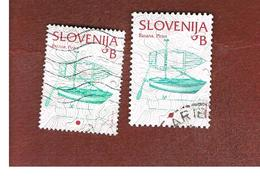 SLOVENIA - MI 444.512 -  2003.2005 CULTURAL HERITAGE: FISHING  BOAT (2 DIFFERENT DIMENSIONS & PERFORATIONS)  -   USED - Slovenia