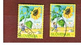 SLOVENIA - MI 541BA.541BD -  2005 FLOWERS: SUNFLOWER  (2 DIFFERENT PERFORATIONS)  -   USED - Slovenia