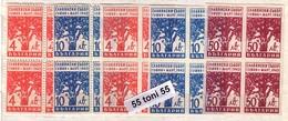 1945  Slav Congress-TREES ( Mi.477/479A+B - 5v.( Perf.+Imperf.)-MNH (Block Of Four ) Bulgaria/Bulgarie - Nuevos