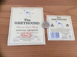 Etiquette + Contre-étiquette «SCOTCH WHISKY - The GREYHOUND - SPECIAL RESERVE » (chien) - Whisky