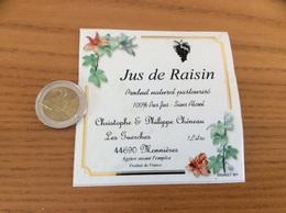 Etiquette Autocollant «Jus De Raisin - Christophe & Philippe Chéneau - Monnières (44) » - Etiquettes