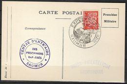 FRANCE Libération - Saumur 49 Maine Et Loire Sur Carte Postale Non Illustrée Obli. Du 15-août 1943 Trés Beau - Perforé - Libération