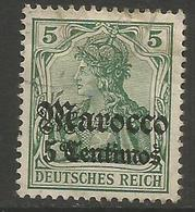 German Offices Morocco - 1905 Germania Overprint  & Surcharge 5c/5pf MH *  Mi  20 - Offices: Morocco