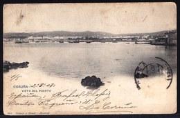 ESPAGNA - SPAIN ** LA CORUNA VISTA DEL PUERTO ** Sent To Belgium 1908 - 2 Scans - La Coruña