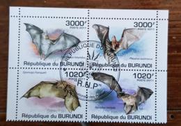 BURUNDI Chauve Souris, Bloc De 4 Valeurs émises En 2011.  Oblitéré (used) - Fledermäuse