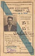 Carte D Invalidité, Seine, Pension, Chemin De Fer 50%, 1922     (bon Etat) - Cartes