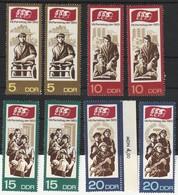 DDR 1967 Michel Nr. 1268-1271 **, Je 2 X, Alle Postfrisch, SED Parteitag, 1268 - 71 (1x Rechter Seitenrand) - Ungebraucht