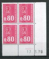 12762 FRANCE  N° 1816 ** 80c. Rouge  Marianne De Béquet C.D Du 17.3.76  TB - Hoekdatums