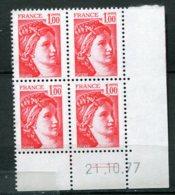 12765 FRANCE  N° 1972 ** 1F Rouge  Sabine C.D Du  21.10.77  TTB - Hoekdatums