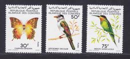 COMORES N° 253 à 255 ** MNH Neufs Sans Charnière, TB (D8940) Oiseaux, Papillon - 1979 - Comoros