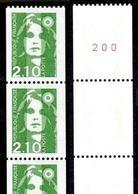 FRANCE 1990 MARIANNE DE BRIAT ROULETTE YT N° 90  2,10 VERT, AVEC 3 TIMBRES NUMEROTES, ** - 1989-96 Marianne Du Bicentenaire
