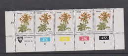 South Africa-Venda SG R5 1979 Flowers,1c Tecomaria Reprint Dated 1982 Strip 5, Mint Never Hinged - Venda