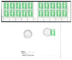 FRANCE 1993 MARIANNE DE BRIAT YT N° 2790 2,20 VERT-CLAIR COIN DATE - 1989-96 Marianne Du Bicentenaire