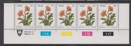 South Africa-Venda SG R9a 1979 Flowers,5c Gerbera Reprint Dated 1980 Strip 5, Mint Never Hinged - Venda